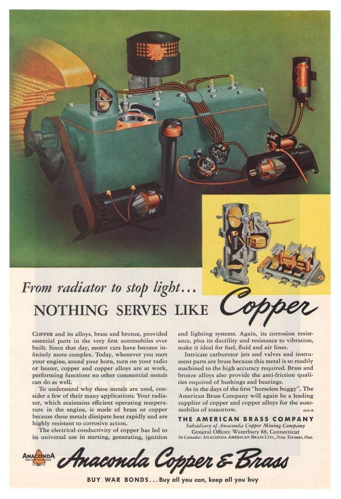 Anaconda Copper Brass '40s Bronze Industrial Vintage Advertisement Original Ad 1945