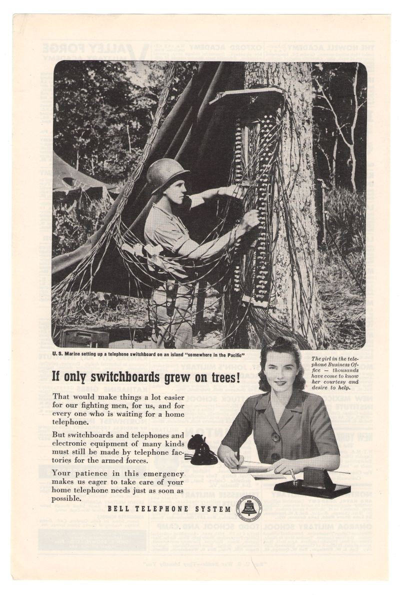 Marines Bell Telephone '40s Wartime WWII Soldier Vintage Advertisement Original Ad 1945