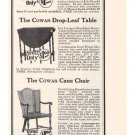 Cowan Cabinet Furniture '20s Sewing Table Cane Chair Tea Wagon Original Ad 1925