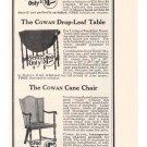 Cowan Cabinet Furniture '20s Sewing Table Cane Chair Tea Wagon Original Ad 1925