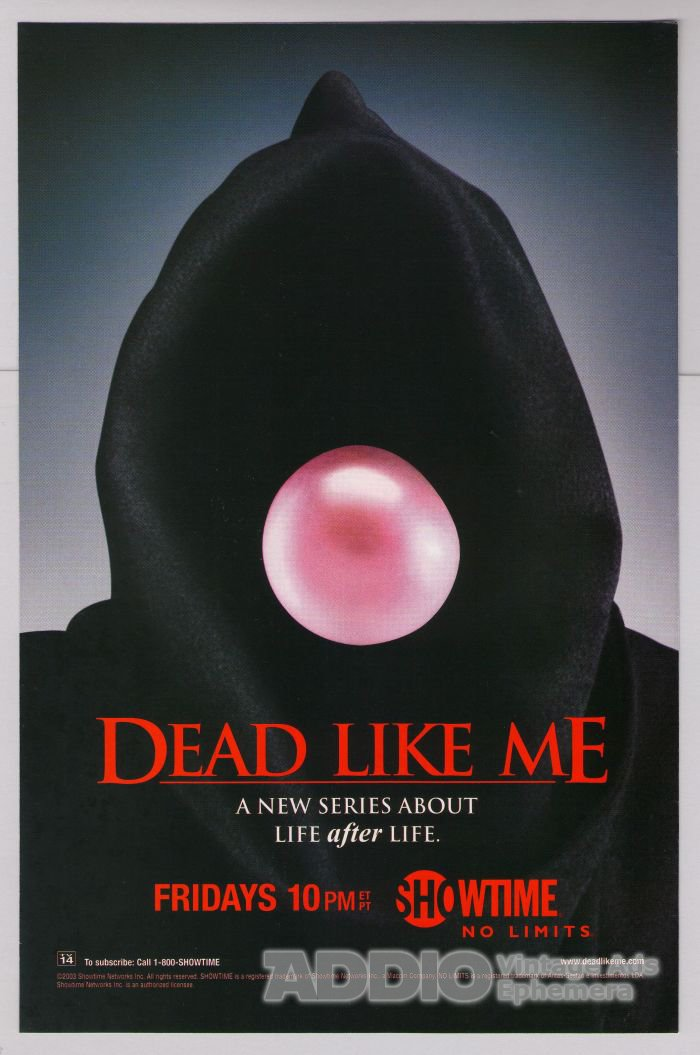 Dead Like Me PRINT AD Showtime TV series television Grim Reaper 2003