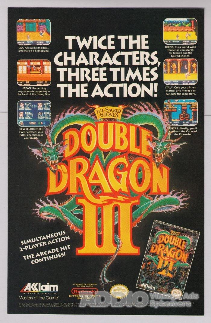 Double Dragon III video game '90s PRINT AD Nintendo NES Acclaim advertisement 1991