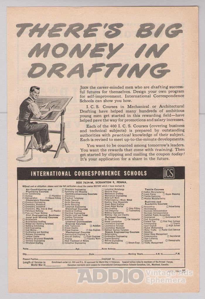 DRAFTING career training '40s PRINT AD International Correspondence Schools vintage ad 1949