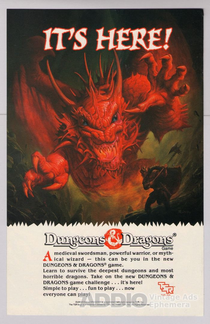 Dungeons & Dragons '90s PRINT AD role playing game advertisement TSR 1991
