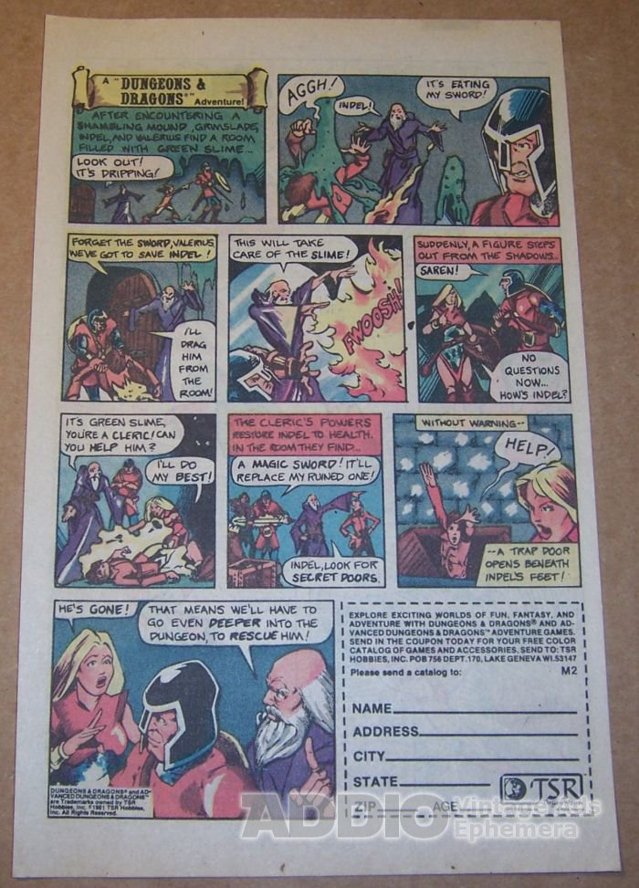 Dungeons & Dragons TSR '80s PRINT AD roleplaying game vintage advertisement 1981