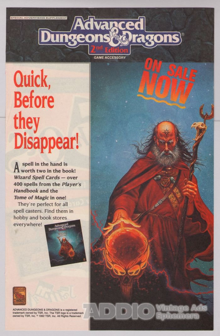 AD&D 2nd edition '90s PRINT AD Advanced Dungeons & Dragons TSR advertisement 1992