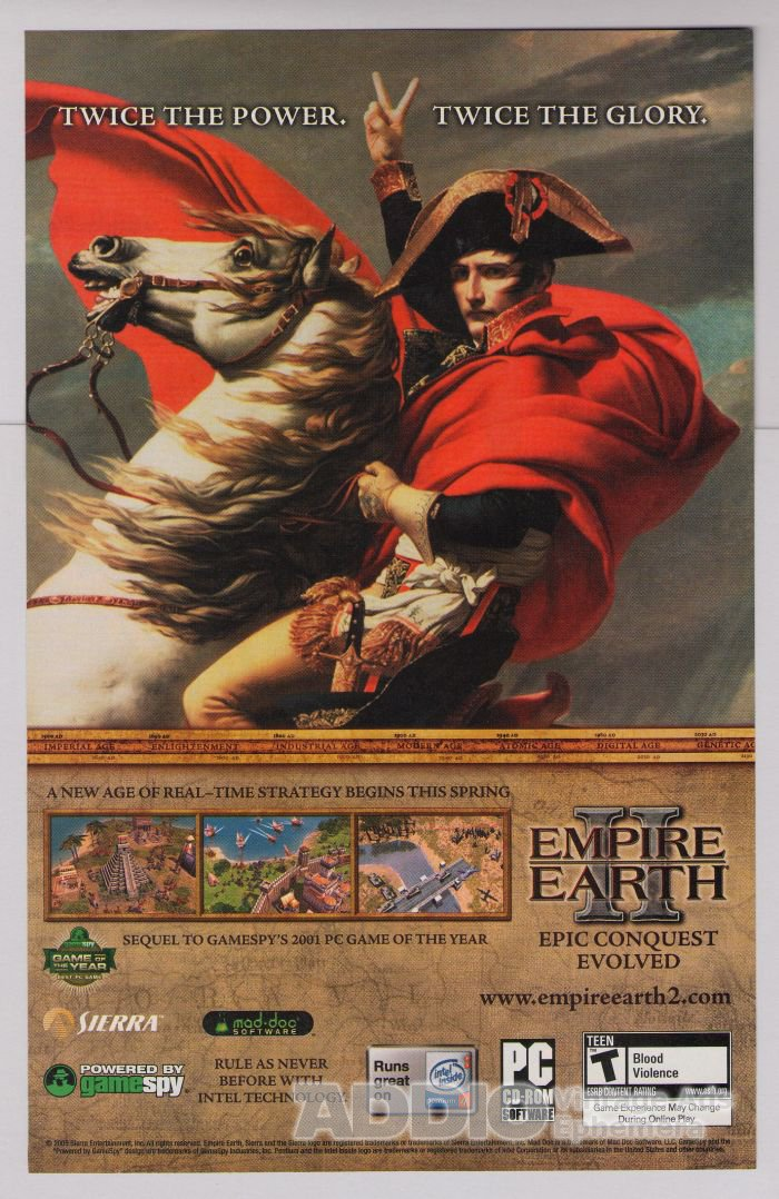 EMPIRE EARTH II video game PRINT AD advertisement Napoleon 2005