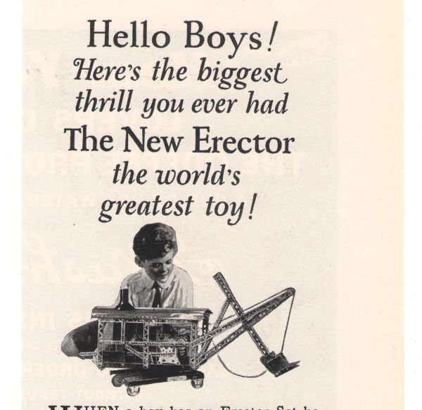 Super Erector Set No. 7 Gilbert '20s Building Toy Advertisement Original Ad 1925