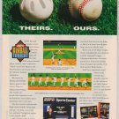 ESPN Baseball Tonight video game '90s PRINT AD Sega SNES advertisement 1994