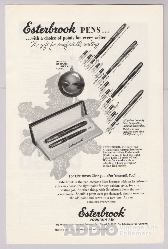 Esterbrook Pens '50s PRINT AD fountain pen vintage advertisement 1953