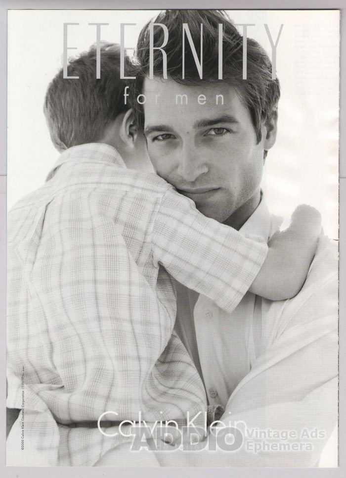 CALVIN KLEIN Eternity for Men 2-sided PRINT AD man with boy sample advertisement 2001