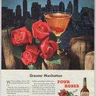 FOUR ROSES whiskey '40s old PRINT AD Manhattan skyline vintage advertisement 1948
