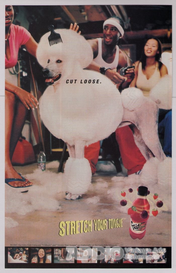 FRUITOPIA poodle afro PRINT AD fruit drink advertisement dog 2002