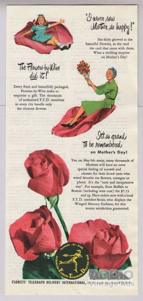 FTD florist '40s old PRINT AD roses Mother's Day mom girl Flowers-by-Wire vintage ad 1948