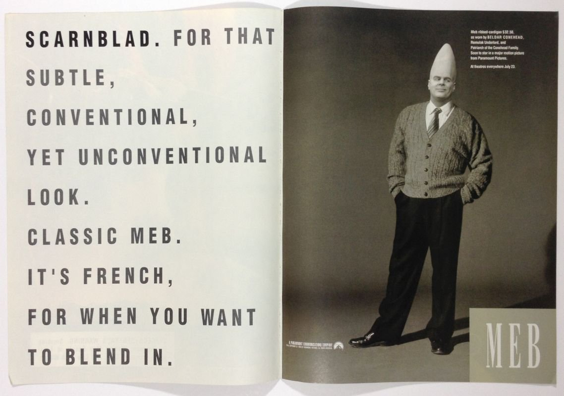 Coneheads Dan Aykroyd Beldar '90s movie fashion parody advertisement ad Meb Gap 1993