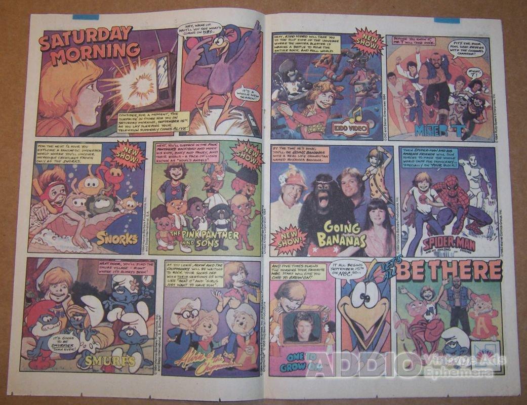 NBC Saturday morning TV '80s PRINT AD Smurfs MR. T David Hasselhoff vintage advertisement 1984