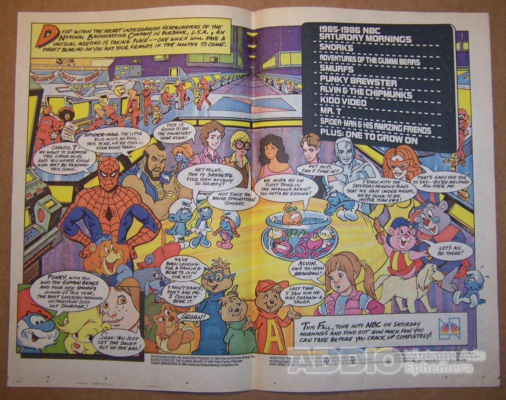 NBC Saturday morning TV '80s PRINT AD Spider-Man KIDD VIDEO Mr. T vintage advertisement 1985