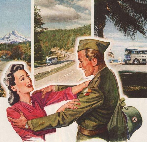 Greyhound Military WWII '40s Soldier Bus Advertisement Original Ad Page Vintage 1945