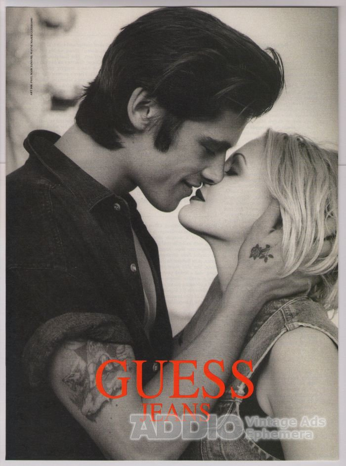 GUESS Drew Barrymore PRINT AD jeans tattoos '90s fashion advertisement 1993