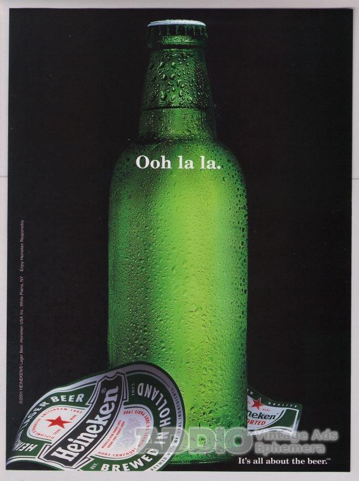 Heineken beer PRINT AD naked bottle alcohol advertisement 2001
