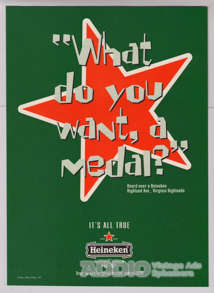 HEINEKEN Olympics '90s PRINT AD beer advertisement 1996