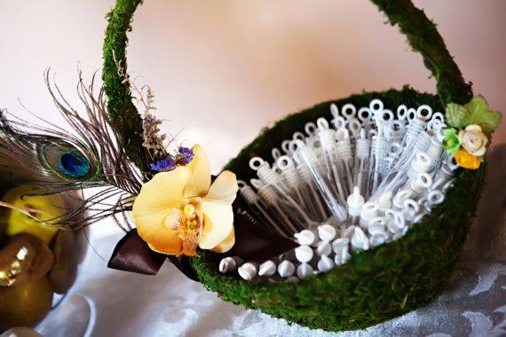 Flower Girl Basket Moss : Flower girl basket elegant moss covered ready
