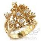 "Beautiful 8 Cz Stone Goldtone Ring Size 6 New 1/2"" wide"
