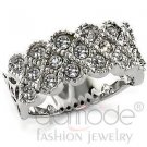 Beautiful Multi-Stoned Cubic Zirconia Band Rhodium Silver Plate Size 7 New