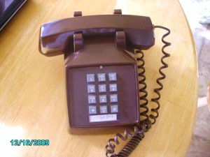 Brown Desk Top Push Button Retro Phone by GoldStar