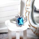 *Emerald Cut 18 kt. White Gold Plated Aquamarine Lady Ring 8