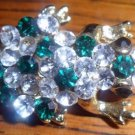 Vtg Gold Toned Green & Crystal Stones Frog Brooch LOOK