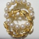 Vintage RICHELIEU Goldtone Double Circle Pin / Brooch - Faux Pearls Leaves