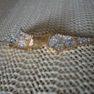 VINTAGE BROOCH PIN Goldtone Bowtie Style With Rhinestones Beautiful