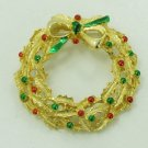 Vintage BROOCH PIN GERRYS CHRISTMAS WREATH ENAMELLED