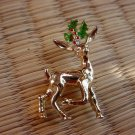 Gerry's Vintage Goldtone Christmas Deer Pin Brooch w Color Designer Signed