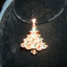 "Lovely Vintage Christmas Tree Pin w/ Enamel & Tiny Pearl ~ signed "" New View """