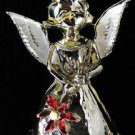 Vintage GERRYS ANGEL CHRISTMAS PIN HOLDS POINSETTIA ENAMEL *Gift Quality