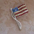 Rare Vintage DODDS Signed American Flag Rhinestone Brooch