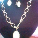 AVON silver link Mother Pearl MOP white shell pendant Necklace & Earrings Set
