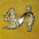 VINTAGE MONET SIGNED RHINESTONE & Goldtone POODLE PIN BROOCH