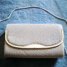 "Vintage white metal mesh purse evening bag 1970's ""Old Beauty"" NICE Condition"