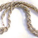 Vintage MONET 30&quot; THICK Twisted ROPE Gold & Silvertone  Necklace - Chain