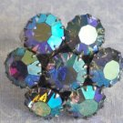 VINTAGE Large Multicolor Crystal Pronged Ring Sz 7 Flower Pattern - Vibrant
