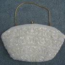Vintage 'Hand Made in the Crown Colony of Hong Kong' White Beaded Purse