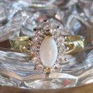 White Faux Opal Ring Size 8 Vintage Stamped ESPO - Joseph Esposito