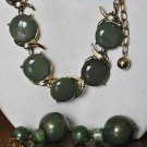 Vintage Signed PeLL 1960's choker  & earrings & bracelet set in green & goldtone
