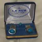 La Rue French Cuff Links & Tie Tack Blue Stone in Original Box