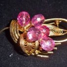 Vintage Pink Glass Bead Pin Qnique and Wonderful