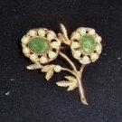 Vintage Marvella Flower Pin Elegant Green Stones & Faux Pearls