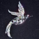 Book Piece Sarah Coventry Silver and AB Crystal Rhinestones Bird Brooch Signed